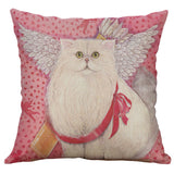 "18"" Vintage Cat Cotton Linen Pillow Case Throw Cushion Cover Home Decor"