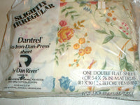 Vintage DANTREL DAN RIVER Double Flat Sheet Floral Sightly Irregular
