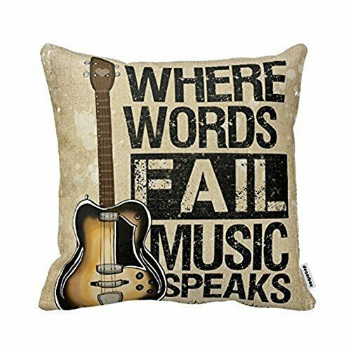 Where Words Fall Music Speaks Quote Throw Pillow Case Vintage Cushion Cover