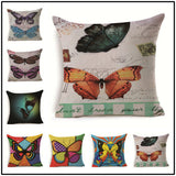18'' Vintage Butterfly Cotton Linen Pillow Case Cushion Cover Sofa Home Decor