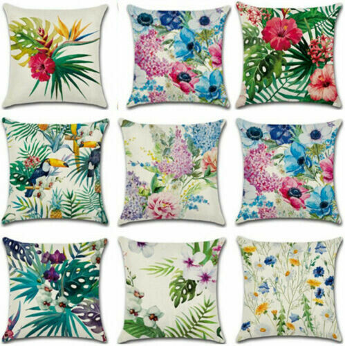 "18 ""Plant Cotton Linen Pillow Case Sofa Car Throw Cushion Cover Home Decor"