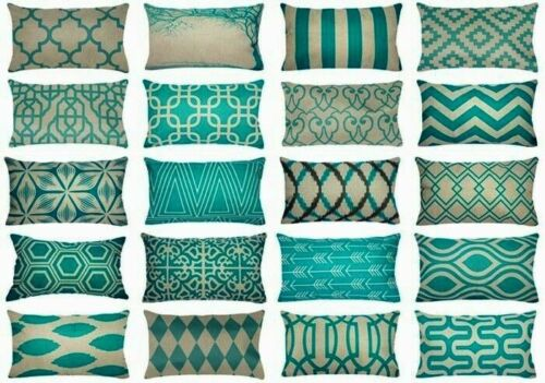 "12x20"" Turquoise Blue Vintage Sofa Home Decor PILLOW COVER Retro Cushion Case"