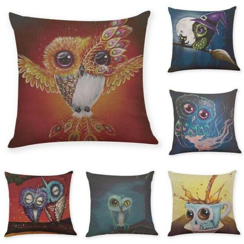 "18"" Cartoon Owl Cotton Linen Cushion Cover Throw Pillow Case Sofa Home Decor"