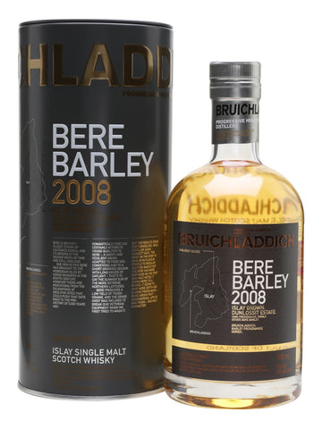 The second release of Bruichladdich Bere Barley 2008 uses grain grown on Islay. This has notes of honey, toast, coconut, ginger, melon and pear.