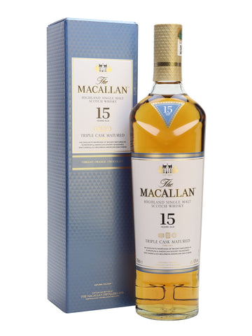 "Macallan 15yo Fine Oak is matured in a combination of Bourbon & Sherry Oak Casks. This range has been around for a few years now and seems to have weathered the storm it caused amongst the faithful when it was initially released. This one is probably the pick of the (Fine Oak) bunch. ""Takes time to open but worth the wait. The complete package and arguably the best. 9¼/10"" Dave Broom, Whisky Magazine."