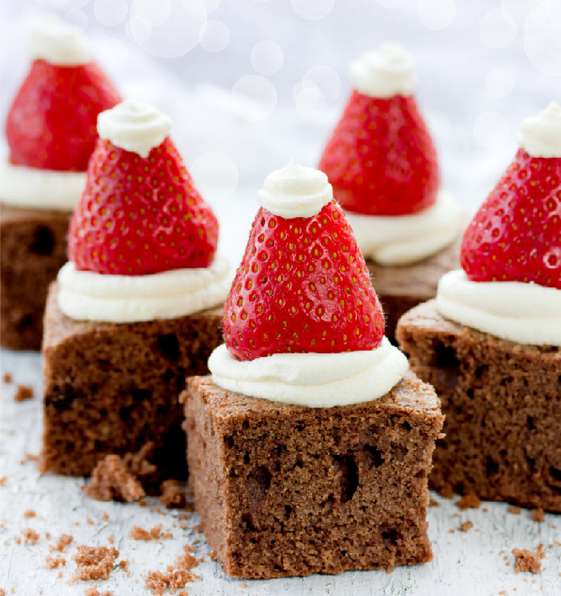 Chocolate Brownies with Strawberry Santas