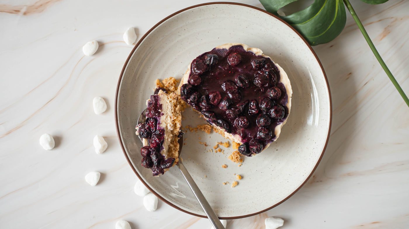 Single-Serve No-Bake Vegan Blueberry Cheesecake