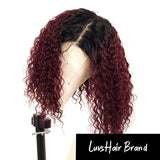 Luvs Hair 1B 99J Color Curly Bob Wigs 13x4 Lace Front Human Hair Wigs Good Air Permeability Swiss Lace Tied By Hand Virgin Hair