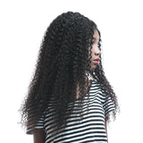 Luvs Hair Best Kinky Curly Brazilian Hair 4 Bundles With 4*4 Lace Closure Virgin Human Machine Double Weft