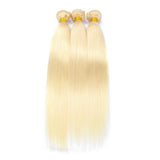 613 Blonde Color Brazilian Straight Hair 3 Bundles