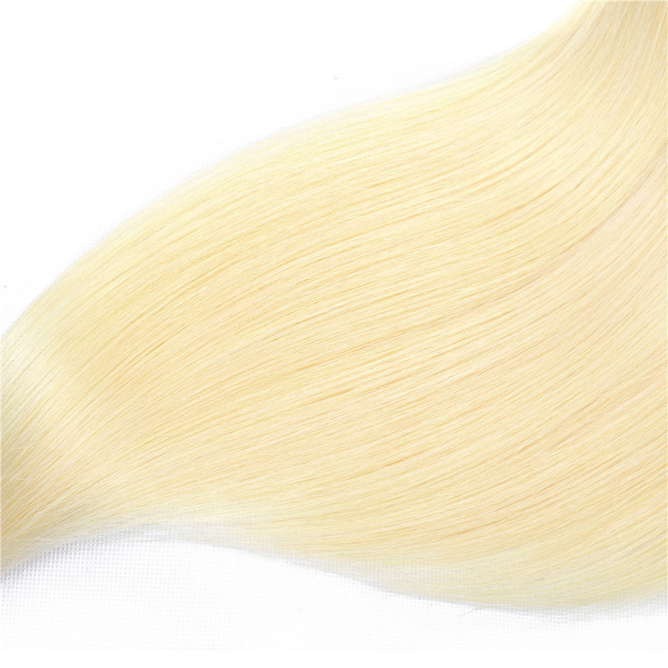Brazilian Long Straight #613 Blonde Hair Bundles With 13x4 Lace Frontal Closure