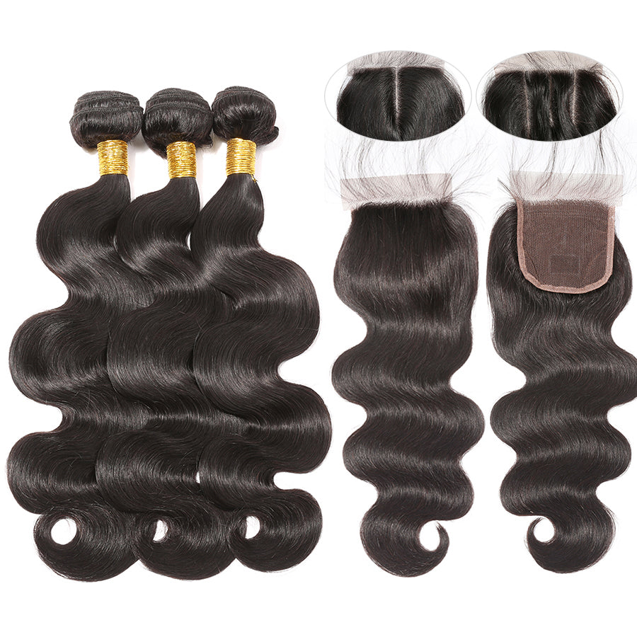 Luvs Hair Human Brazilian Body Wave Hair 3 Bundles With 4x4 Transparent Undetectable Lace Closure Real & Natural Look