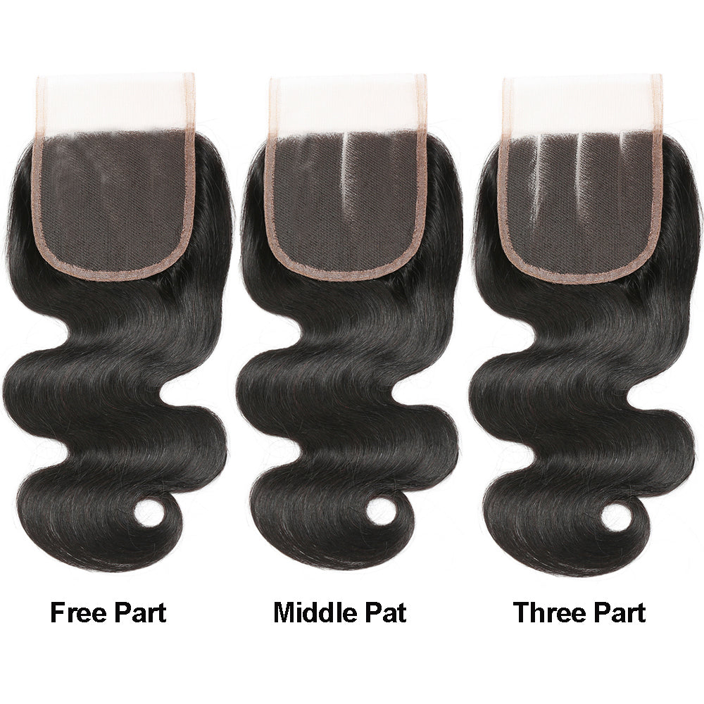Luvs Hair Virgin Brazilian Body Wave Human Hair 4 Bundles With Transparent Pure-Hand Tied 4x4 Lace Closure Buy