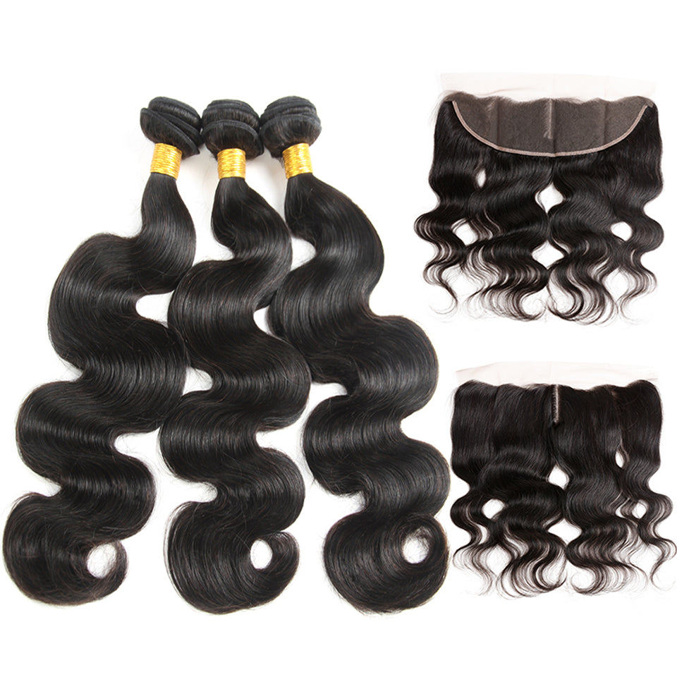 Luvs Hair Wavy Brazilian Body Wave Weave 3Bundles With 13x4 Transparent Lace Frontal Closure Human Virgin Hair