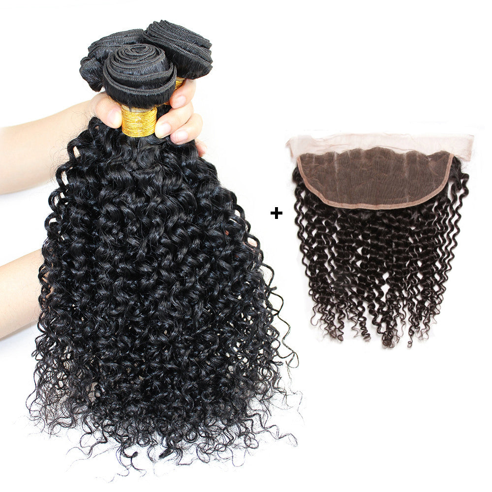 Brazilian Curly Hair 3 Bundles With 13x4 Lace Frontal Closure