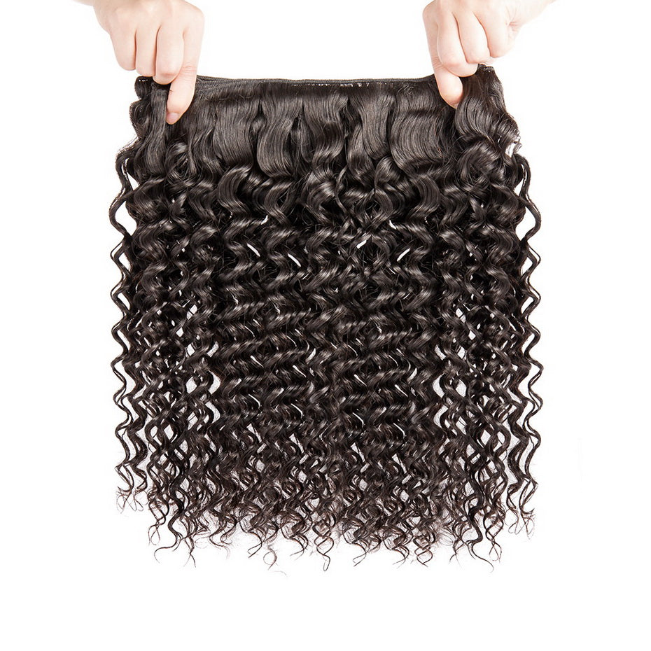 Gorgeous! Luvs Hair Brazilian Deep Wave Curly Hair 3 Bundles With 4*4 Lace Closures, 100 Percent Human Wavy Weave