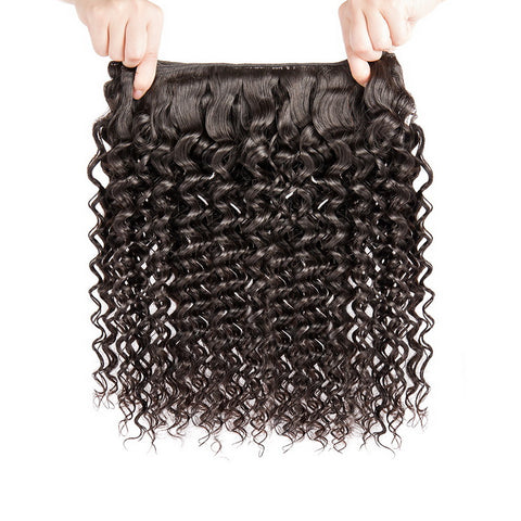 Luvs Hair 10A 3 Bundles Deep Wave Brazilian Hair Weave With 360 Lace Frontal Pre-Plucked Baby Hair Closure