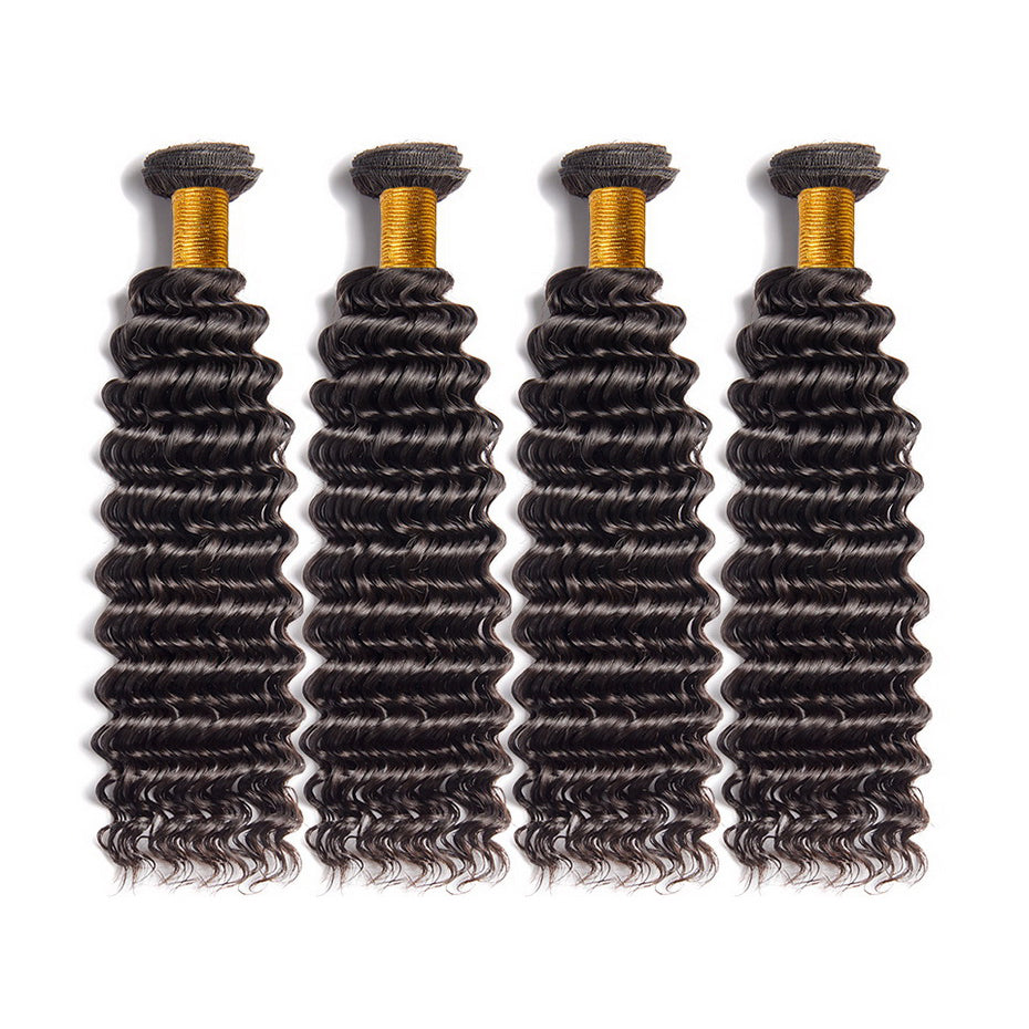 Luvs Hair 1Pc Sample Order Deep Wave Brazilian Hair 1B Natural Color Buying Remy Human Hair Weave Hair In Bulk