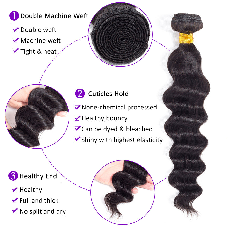 Luvs Hair Best Brazilian 4Bundles With 4x4 Lace Closure Loose Deep Wave Human Hair Weft Top Virgin Hair Vendors