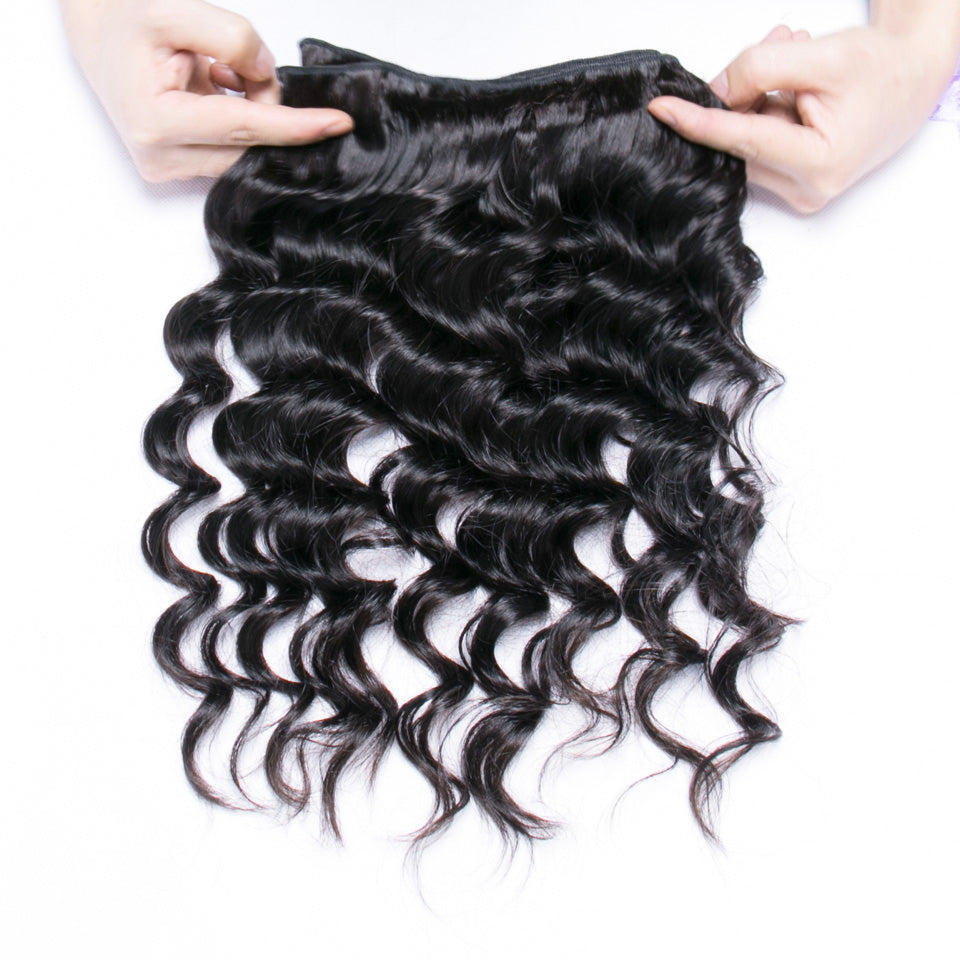 Luvs Hair Good Human Brazilian Loose Deep Wave Hair 3 Bundles With 13x4 Lace Frontal Ear To Ear and Natural Hairline