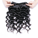Luvs Hair Loose Deep Wave 3 Bundles Brazilian Hair Weave With 4x4 Lace Closure 100% Human Hair Extensions