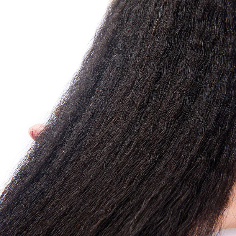 Luvs Hair Beautiful Brazilian Yaki Kinky Straight Weave 3 Bundles With 13*4 Lace Frontal Closure Natural Looking Full Head Human Hair