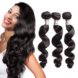 Luvs Hair Loose Curly Weave Human Brazilian Loose Wave 4 Bundles With 1 Piece 4*4 Swiss Lace Hair Closure Deals