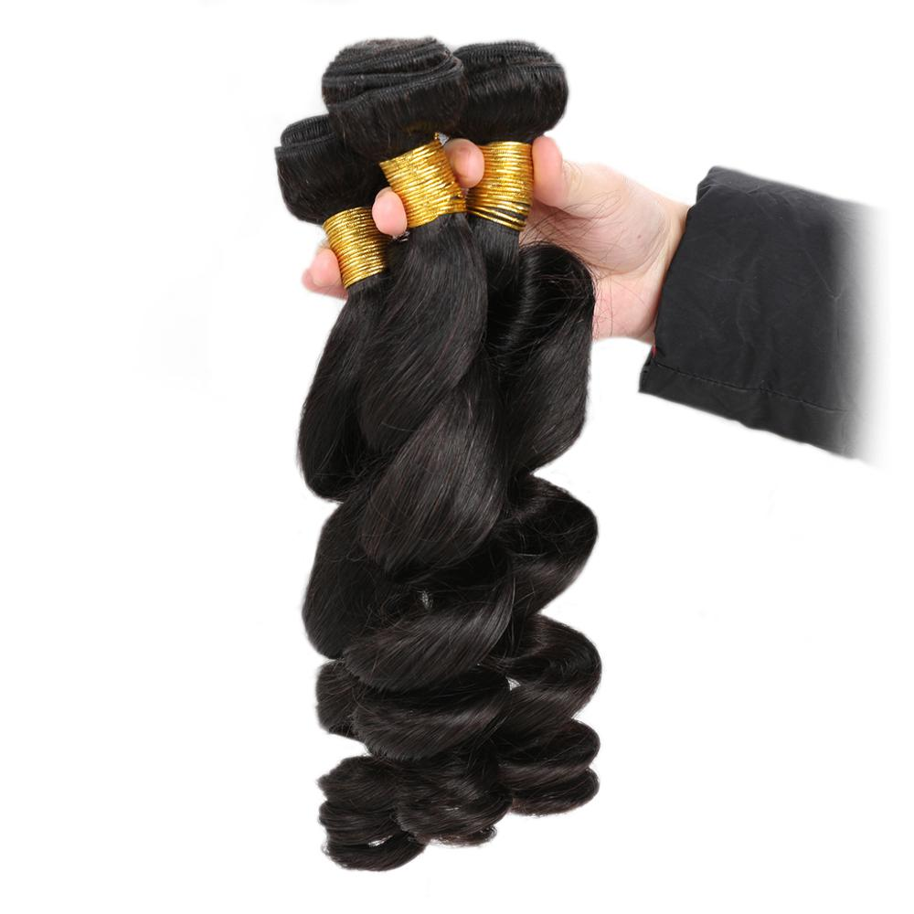Luvs Hair Virgin Brazilian Loose Wave Weave 3 Bundles With 4x4 Lace Closure Human Hair Extensions For Black Women