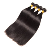 Brazilian Straight Hair 3 Bundles With 4x4 Lace Closure