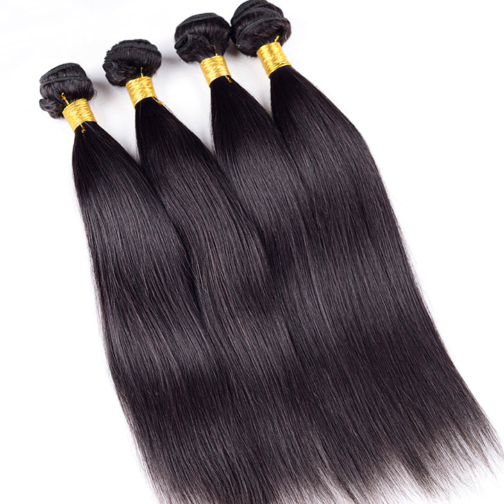 Invisible Virgin 4 Bundles Brazilian Straight Human Hair Weave With 4x4 HD Transparent Lace Closure Sale