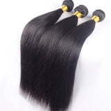 100% Unprocessed Virgin Brazilian Straight Human 3 Bundles With 13x6 Lace Frontal Closure Pre Plucked Natural Hairline