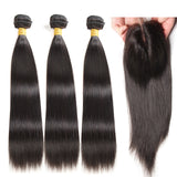 Brazilian Straight Hair Weave 3 Bundles Double Machine Weft With 4x4 Transparent Lace Closure 100% Human Virgin Hair