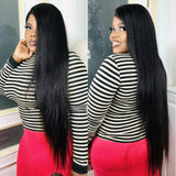 Brazilian Straight Hair 3 Bundles With 13x4 Lace Frontal Closure