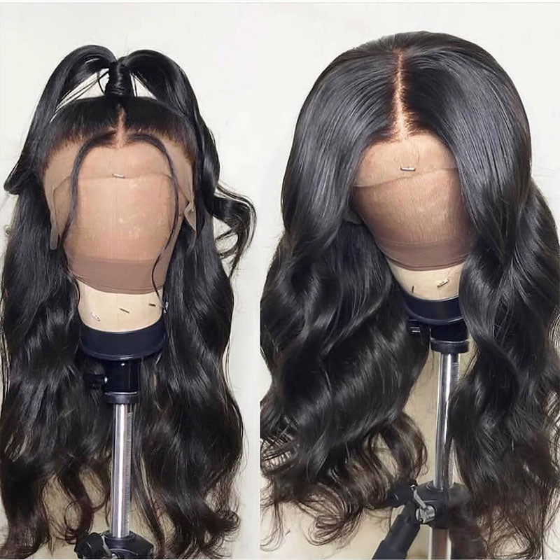 Luvs Hair Fake Scalp Wigs Invisible Glueless Body Wave 13x6 Lace Frontal Wig With Pre Plucked Natural Hairline