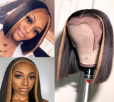 Luvs Hair Mix Color Highlight 1B 27 Bob Wig Middle Part Remy Straight 13x4 Lace Front Honey Blonde Ombre Short Bob Wigs