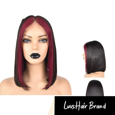 Luvs Hair Mix Color Highlight 1B 99J Color Straight Bob Wigs 13*4 Lace Front Virgin No Shedding And Smell Human Hair Wigs