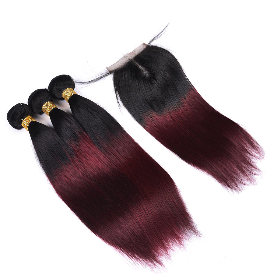 Luvs Hair T1B/99J Dark Wine Ombre Hair Color Brazilian Straight Hair 3 Bundles With 4x4 Lace Closure Human Hair Weave