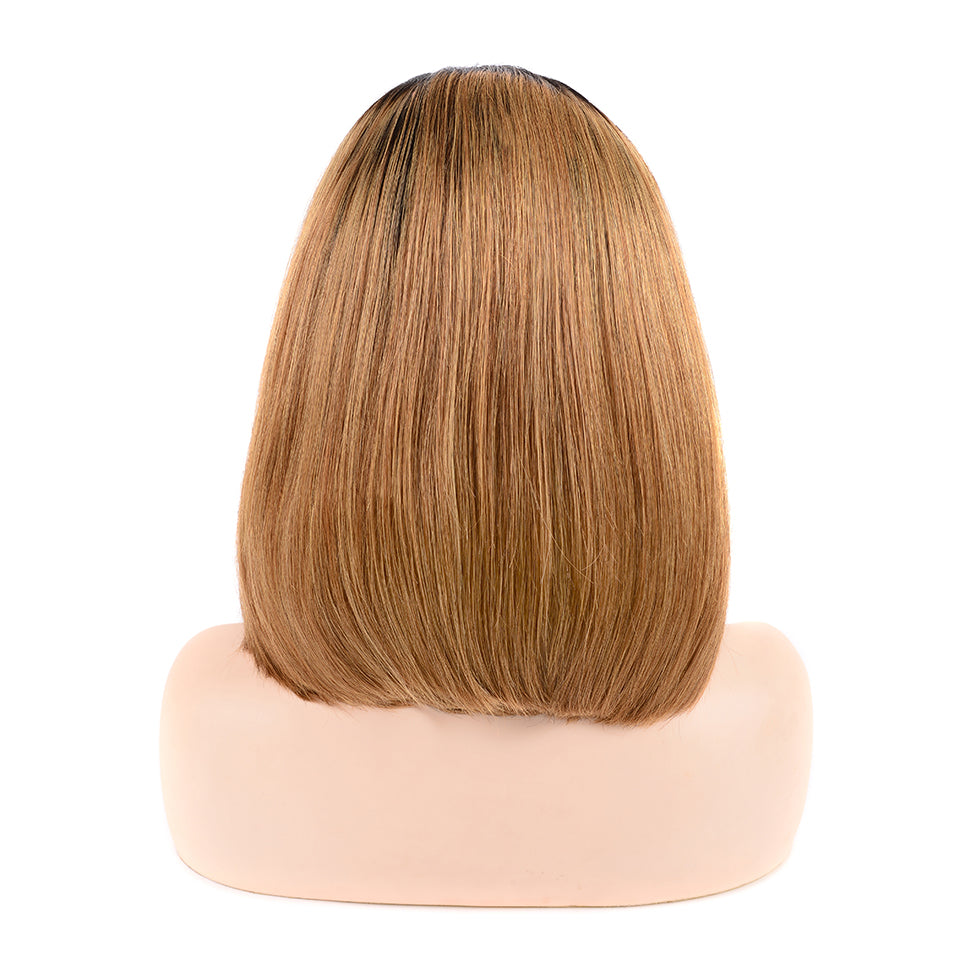 Luvs Hair Straight Bob Wigs T1B/27 Ombre Color 13x4 Lace Front Looked Ravishing Short Human Hair Wigs With Baby Hair Around
