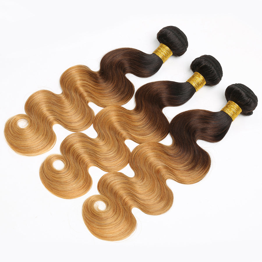Vibrant T1B/4/27 3 Tone Ombre Body Wave Hair Weave 3Pcs/pack Virgin Human Braiding Brazilian Hair Extensions