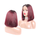 Luvs Hair Short 13x4 Lace Front Bob Wigs 1B 99J Black Roots Colored Straight Hair Remy Ombre Human Hair Wig