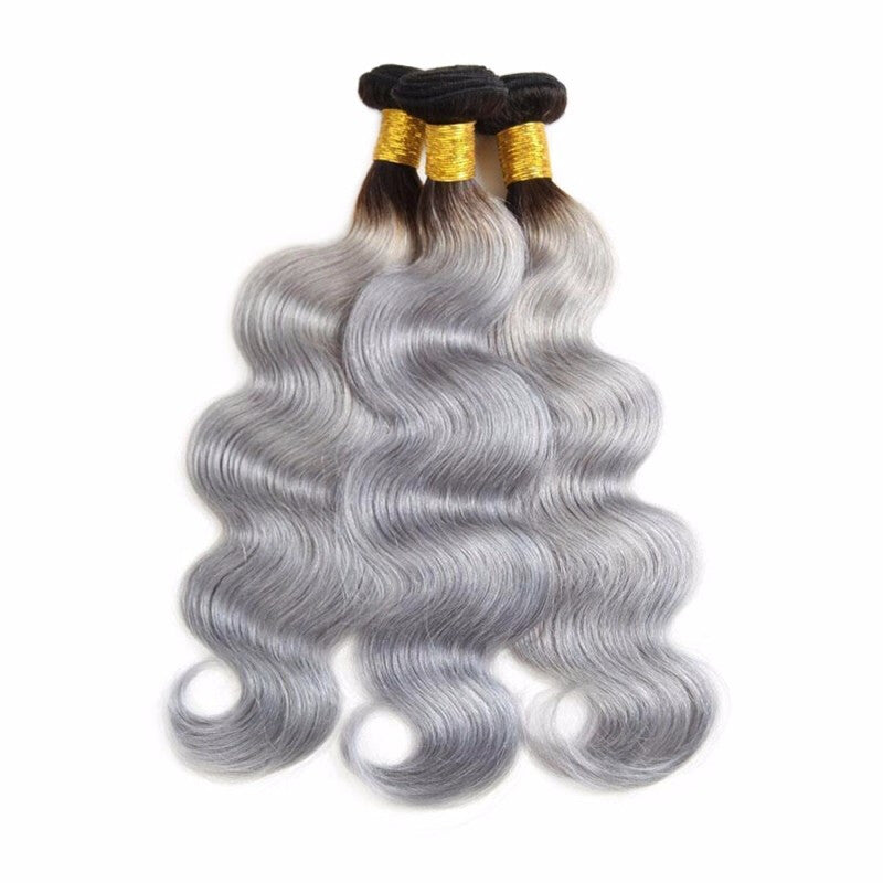 T1B Grey Ombre Brazilian Body Wave Hair Weave 3 Bundles