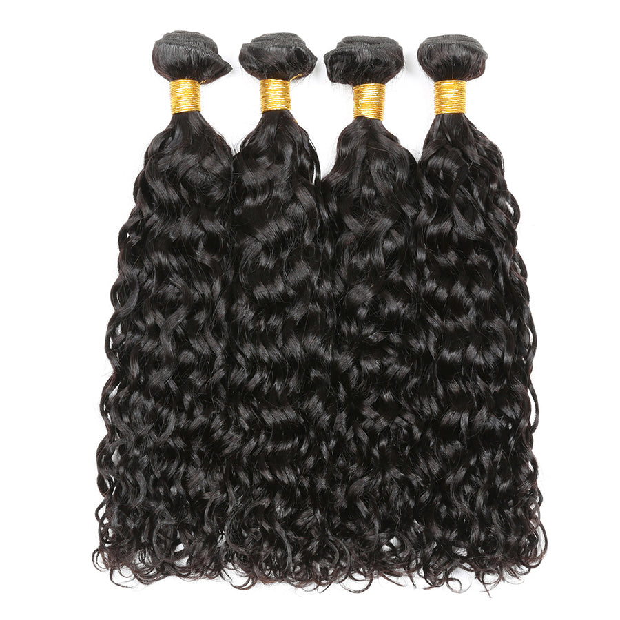 Brazilian Wet And Wavy Hair Sew In Human Hair Weave 3 Bundles Water Wave With 4x4 Lace Closure