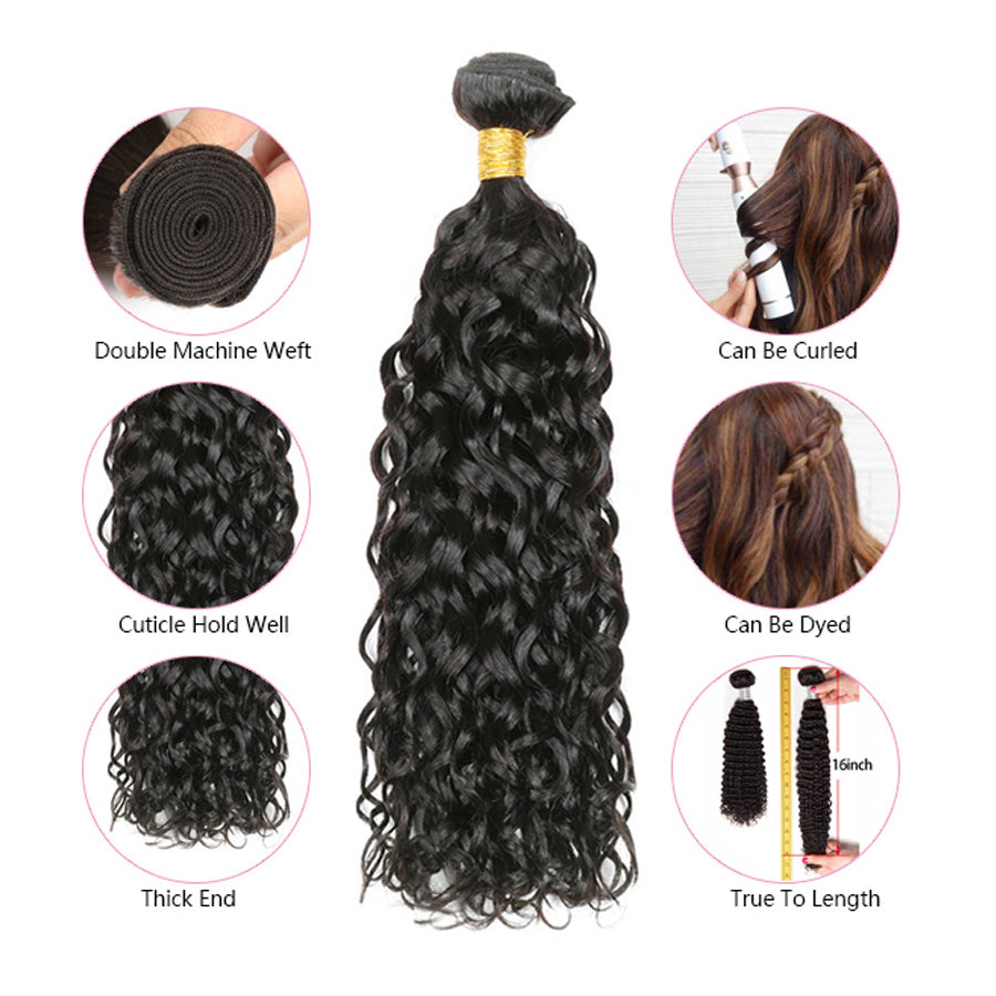 Luvs Hair Brazilian Wet And Wavy Human Hair 2 Bundles With 360 Lace Frontal Closure Water Curly Deep Part