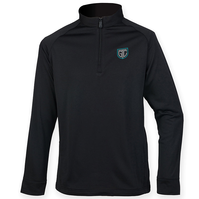 GTC 1/4 Zip Top With Wicking Finish - personalised golf clothing, golf teamwear, Head Covers, Towels & accessories online