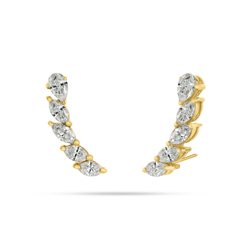 Arc Pear and Marquise Diamond Earrings