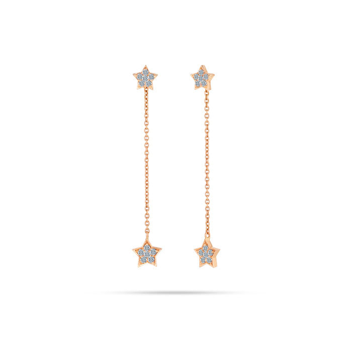 Star Shaped Drop Diamond Earrings