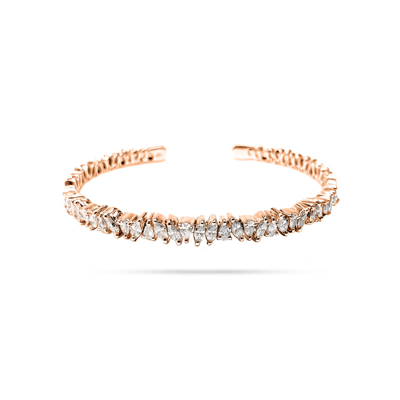 Messy Pear and Marquise Diamond Open Bangle