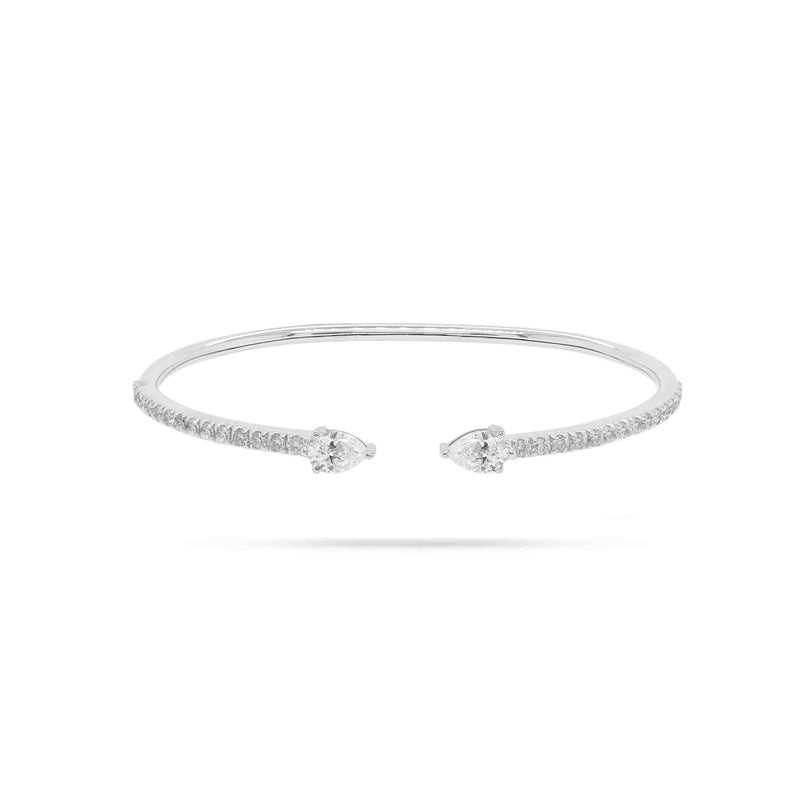 Pear and Round Diamond Open Bangle