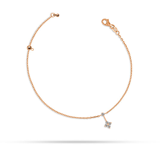 Dangling Round Diamond Anklet