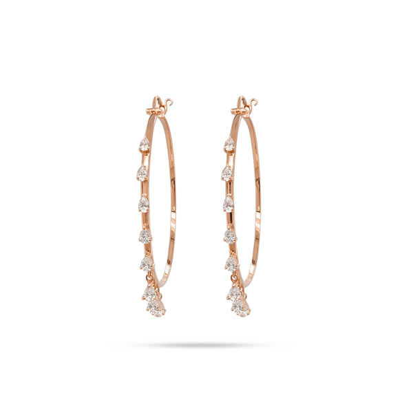 DANGLING PEAR DIAMOND HOOP EARRINGS